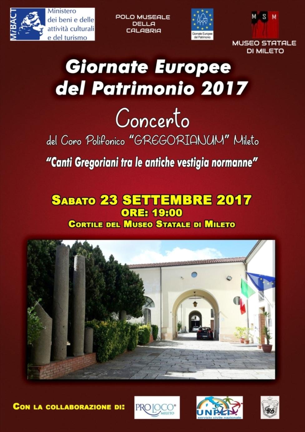 Canti Gregoriani tra le antiche vestigia normanne Museo Statale di Mileto Mileto (Vibo Valentia) Sabato 23 settembre 2017 – Ore 19.00