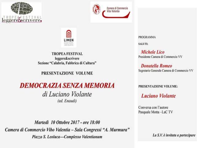Luciano Violante alla Camera di Commercio di Vibo Valentia per parlare di democrazia senza memoria.